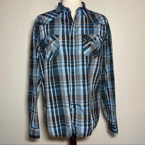 Carbon Blue/Black/Grey Plaid Button Down shirt